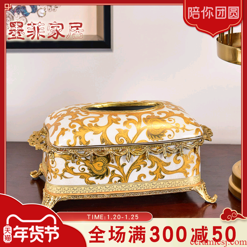 European American light much wind high - end ceramic decorative paper tissue box sitting room dining - room tea table suction box for carton furnishing articles