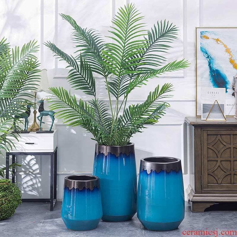 Jingdezhen ceramic flower pot interior decoration green plant cylinder Nordic contracted creative modern pottery vase landing furnishing articles