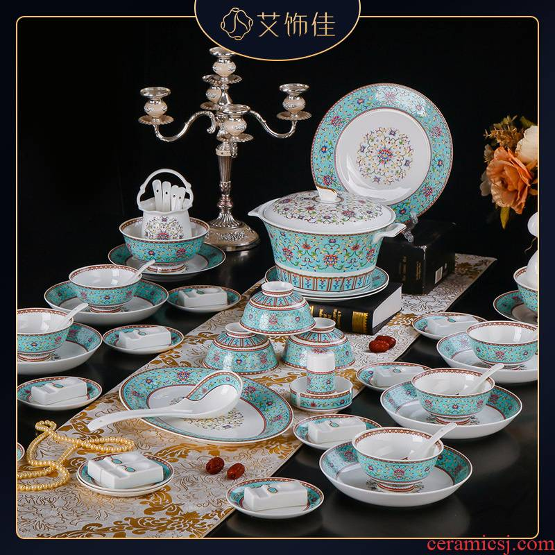Jingdezhen high - grade ipads China light colored enamel craft cutlery set domestic key-2 luxury dishes suit hotel supplies company