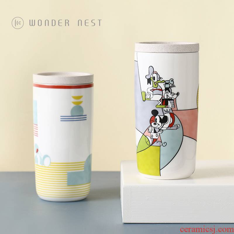 Disney legal authorization of the 90th anniversary with mickey insulation double cup with lid creative ceramic mugs