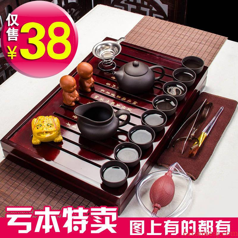 Hui shi kung fu tea set home tea tray zisha teapot cup of a complete set of ceramic glass tea accessories tea table