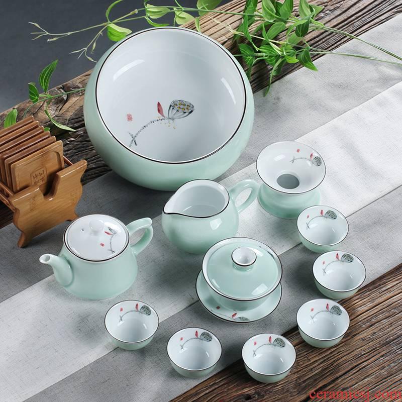 High - grade white porcelain chaoshan kungfu tea set celadon hand - made name plum tureen tea cups of a complete set of tea gifts home
