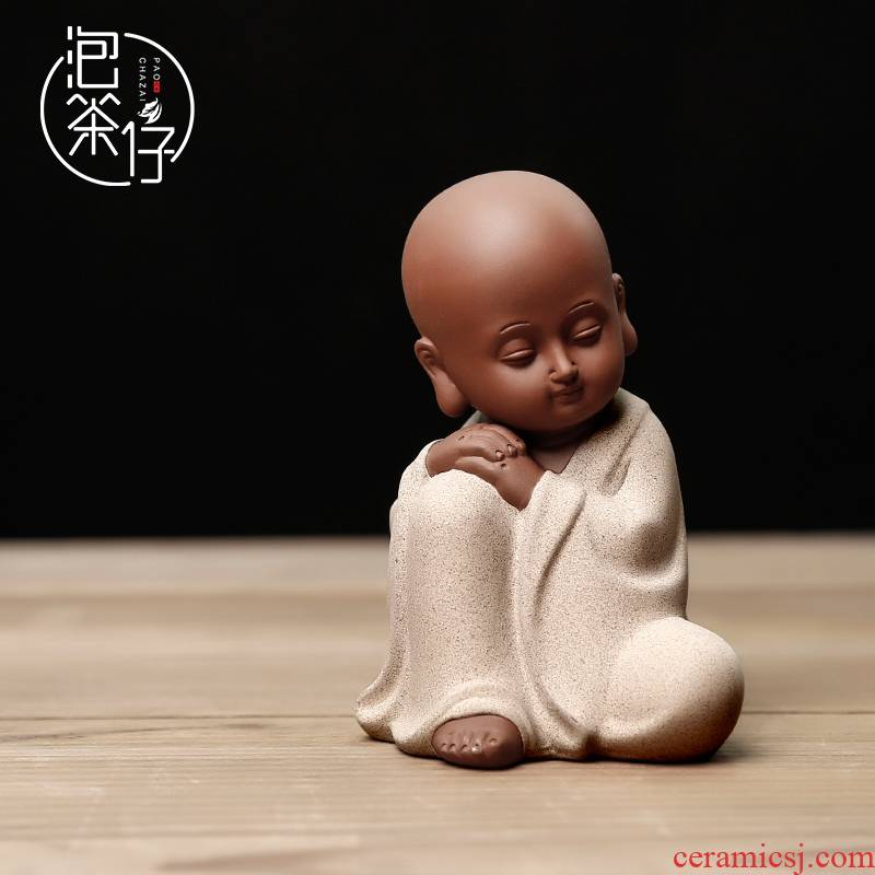 Furnishing articles kongfu zen lovely watch didn 't listen to not to say the young monk tea pet violet arenaceous the little novice monk ceramic tea art
