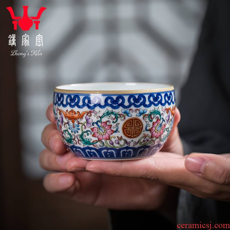Clock home up jingdezhen blue and white porcelain cup all hand blue tie up branch lines colored enamel porcelain kung fu tea cup