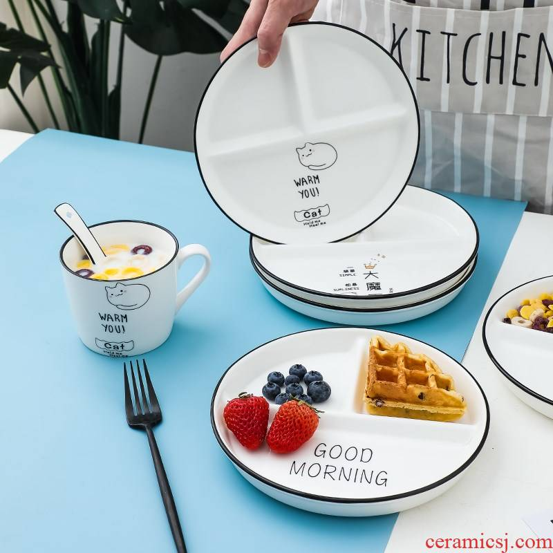 Ceramic frame reduced fat dish one food home breakfast tray children tableware three separate plate policy plate to lose weight