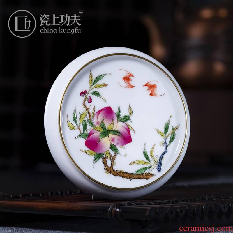 Porcelain on kung fu checking peach colored enamel Porcelain cover rear jingdezhen cover tea accessories