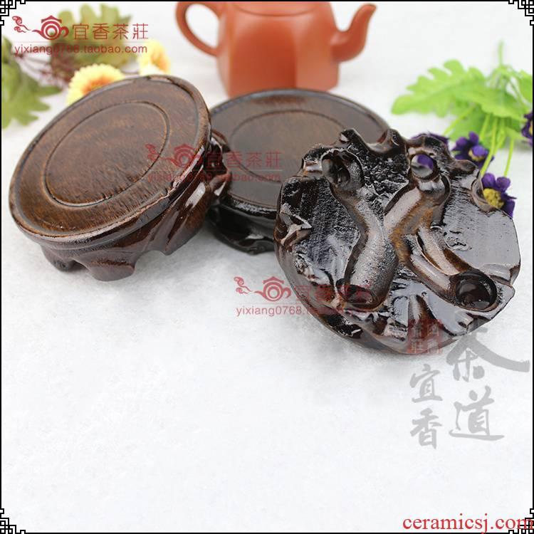 Violet arenaceous kung fu tea cup teapot yixing it real wood base purple sand tea set many single base