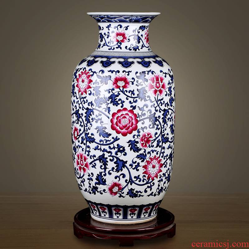 Furnishing articles hand - made antique blue and white porcelain vases, flower arranging is jingdezhen porcelain ceramic porch decoration large living room