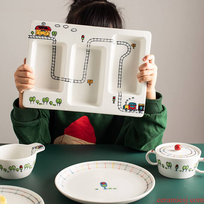 The Original cartoon express little train creative relief under glaze color porcelain tableware ceramics children suit