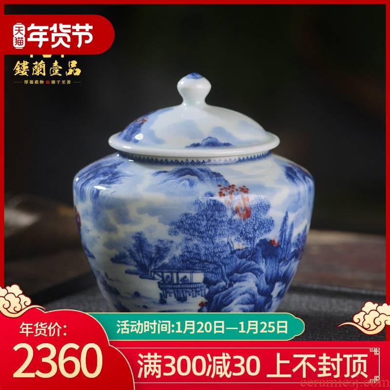 All hand - made porcelain of jingdezhen ceramics on jingshan tea pot water small warehouse up tea box storage moistureproof jar