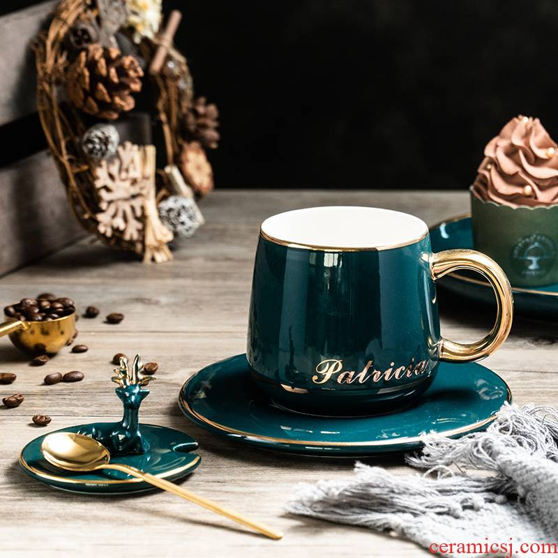 European trend of malachite green, ins ceramic coffee cup with a cup of coffee cup couples milk deer spoon gift box cover plate