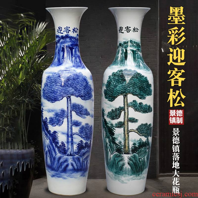 Jingdezhen blue and white porcelain hand - made guest - the greeting pine of large vase place to live in the living room TV cabinet ceramic decoration