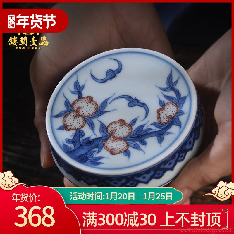 Jingdezhen ceramic blue and white youligong extended longevity peaches cover all hand - made maintain buy small cup mat cup tureen