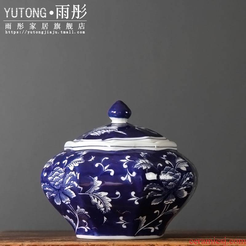 Jingdezhen blue and white porcelain furnishing articles sitting room porch desk anise blue snacks storage tank caddy fixings decoration