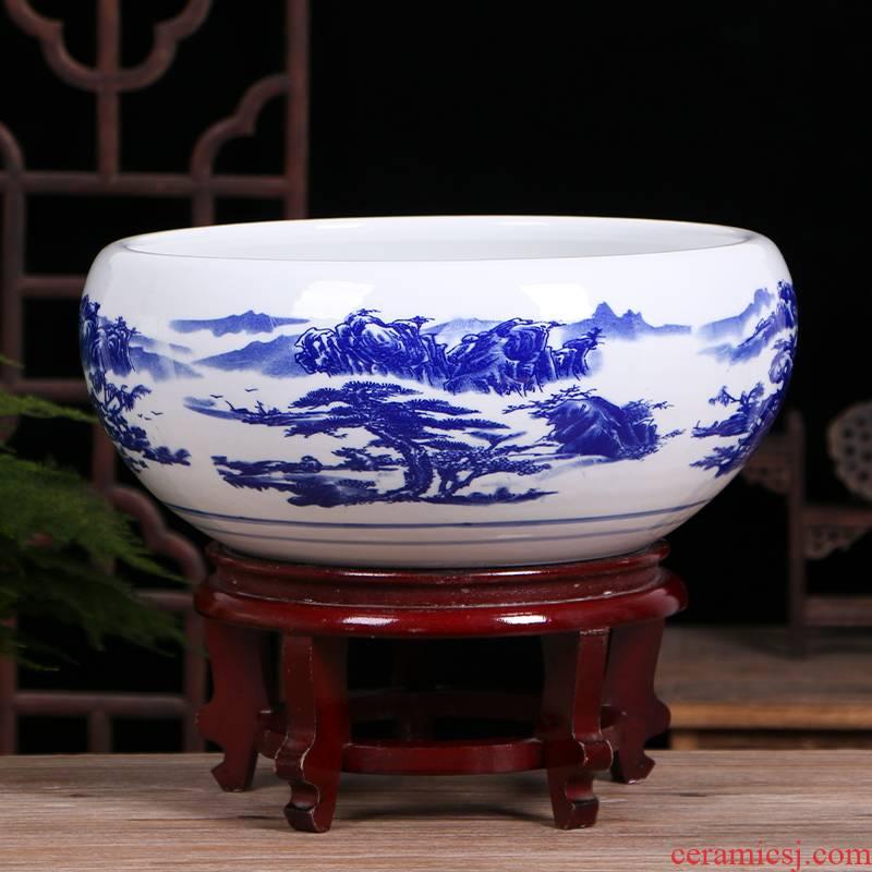 Art spirit of jingdezhen ceramic aquarium home sitting room small tortoise cylinder fish bowl goldfish bowl lotus lotus cylinder basin
