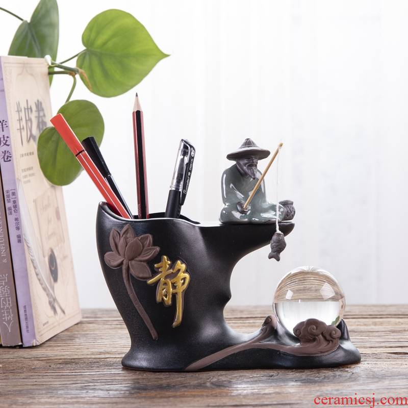 Ceramic brush pot creative fashion a lovely student office desktop multi - function receive retro move contracted furnishing articles