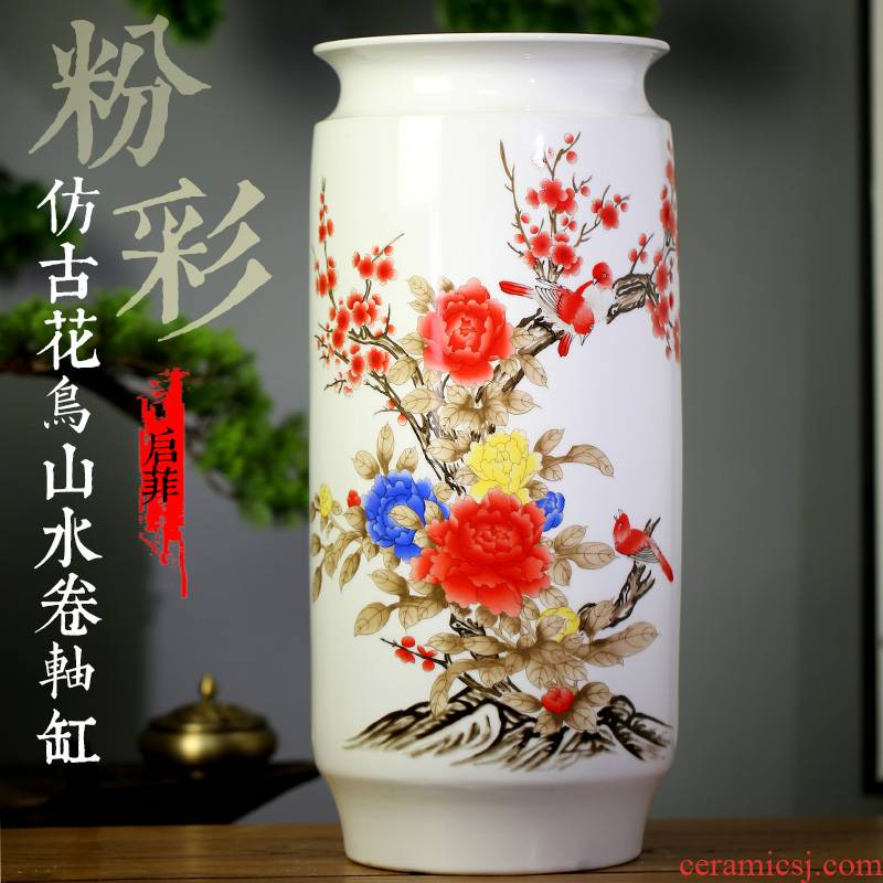 Jingdezhen ceramic quiver sitting room decoration vase furnishing articles study calligraphy and painting scroll painting of flowers and landscape painting to receive the goods