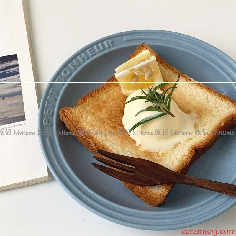 Ins French small breakfast really luckily South Chesapeake matte enrolled embossed ceramic plate of sweet muffin cake salad to restore ancient ways