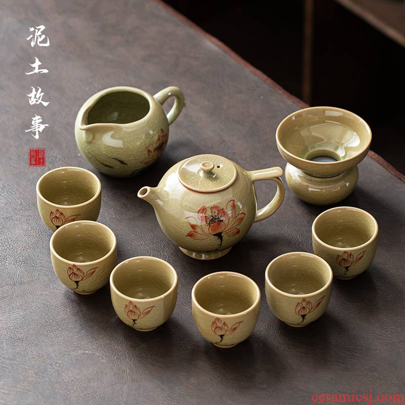 Jingdezhen hand - made ice to crack the up lotus teapot ceramic teapot teacup of a complete set of kung fu tea set office