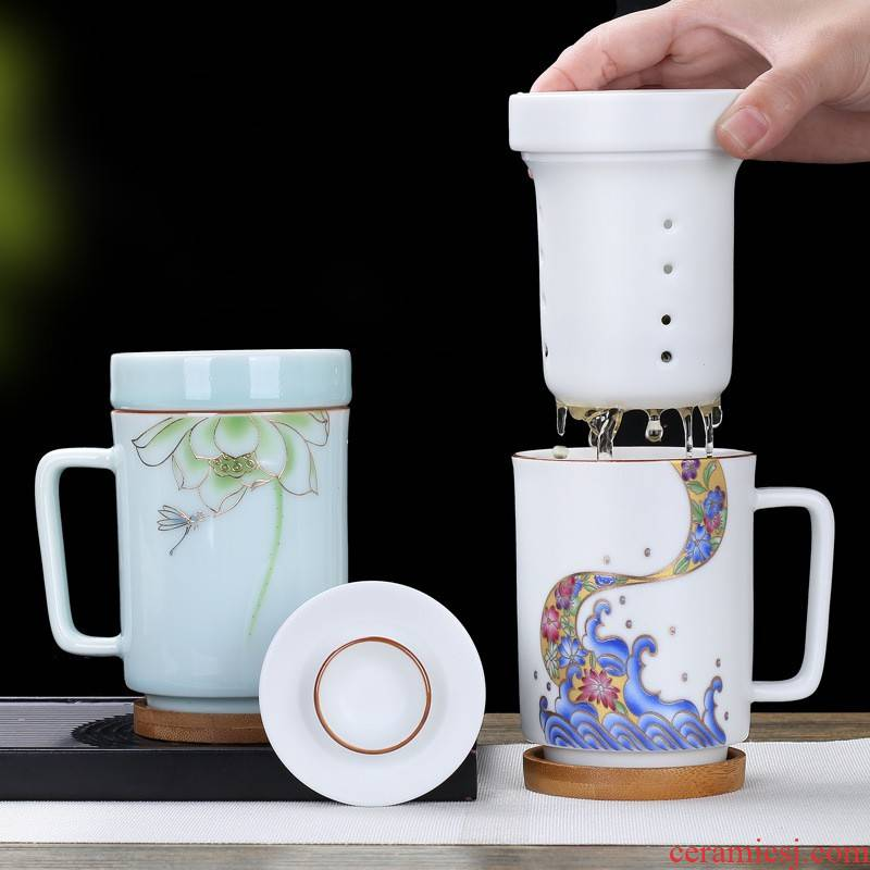 Ms hui shi ceramic mugs male office separation of tea cup contracted belt filter coffee cup of green tea cup