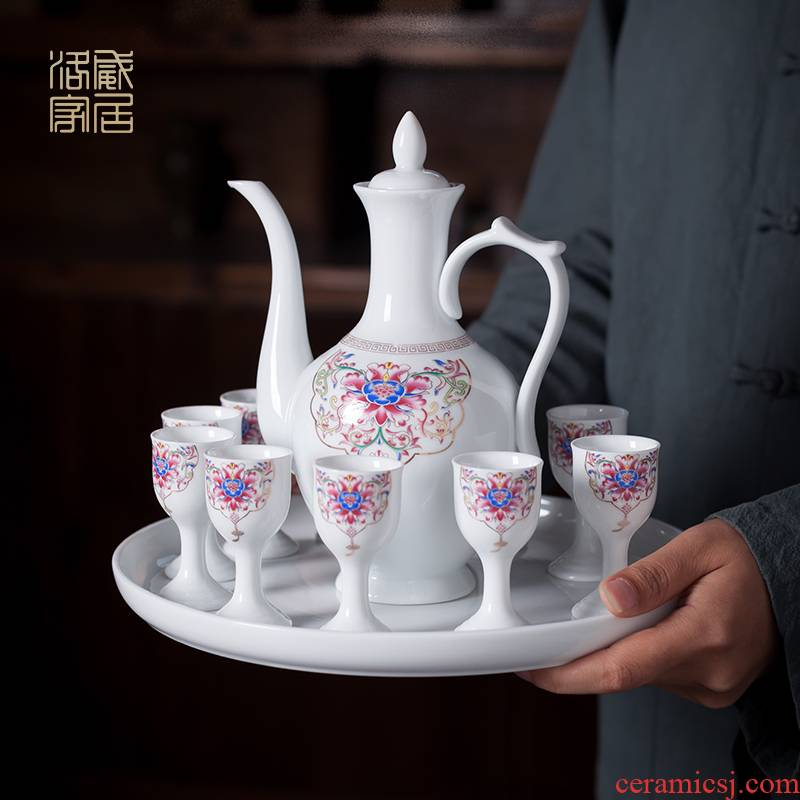 Wine, liquor cup home singularity points of Chinese liquor small wind a small handleless Wine cup of jingdezhen ceramic Wine suits for