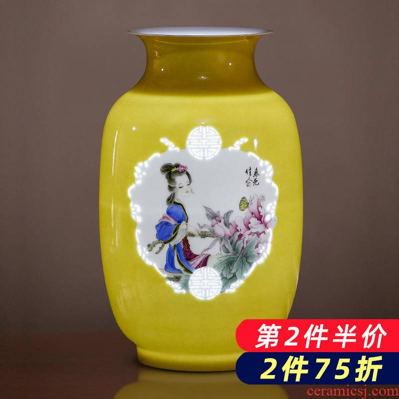 Jingdezhen porcelain ceramic hand - made exquisite knife clay yellow vases, new Chinese style home sitting room adornment is placed