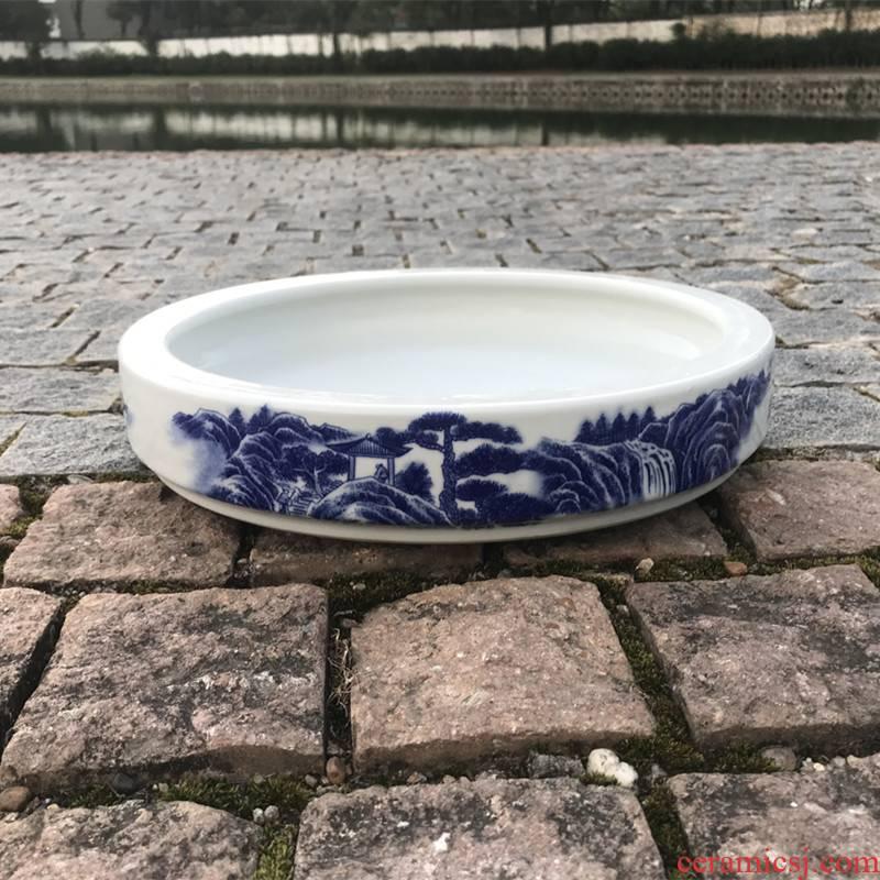 Jingdezhen blue and white porcelain basin ceramic landscape plant shallow suction stone rockery miniascape circular water stone basin