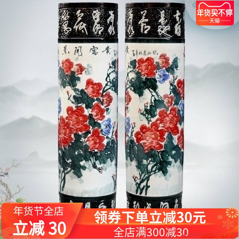 Hand - made color peony blooming flowers sitting room of large vases carved porcelain of jingdezhen ceramics quiver