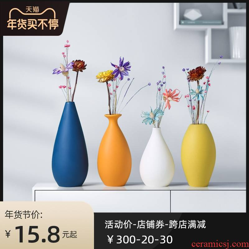 Nordic light key-2 luxury morandi vase furnishing articles TV cabinet ceramic flower arrangement is the sitting room porch table dry flower decoration