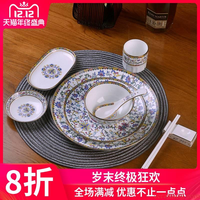 Jingdezhen ceramics bowl plates spoon set tableware portfolio Chinese upscale hotel club table tableware custom