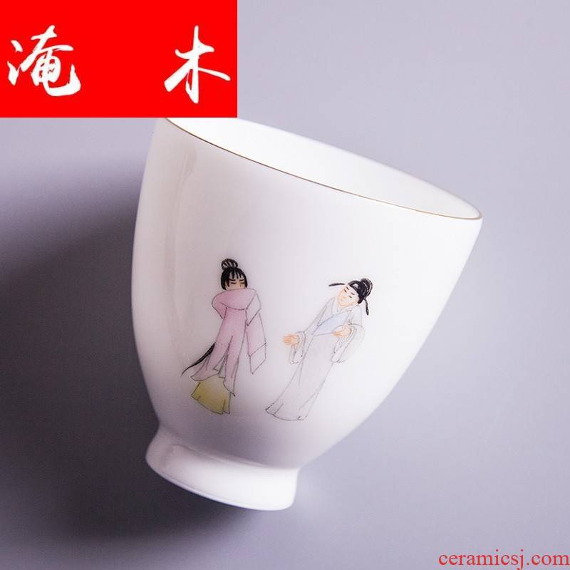 Submerged wood sample tea cup pure manual hand - made pastel characters of jingdezhen kung fu tea set personal single CPU master CPU