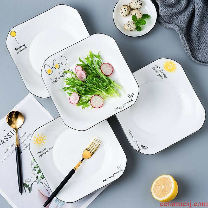 Four ceramic dish household food dish suits for love creative web celebrity fruit bowl soup plate plate Nordic tableware
