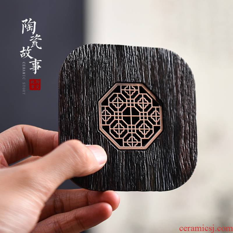 Ceramic story ebony wood cup mat mat the teapot teacup antiskid tea insulation pad kung fu tea accessories