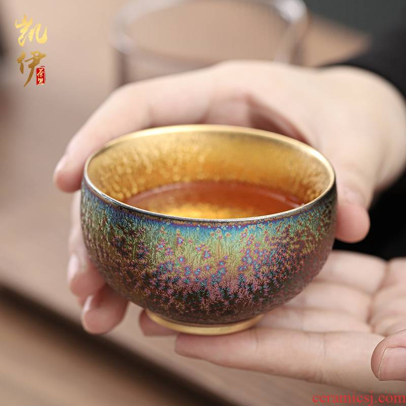 Manual fine gold colorful variable sample tea cup single glass ceramic cups of tea to use the master cup kung fu tea cups