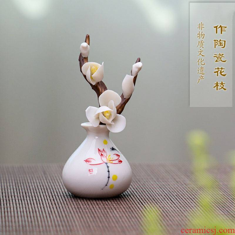 Can make pet ceramic hand flowers manual yulan name plum blossom put creative boutique branch raise camellia small desktop furnishing articles furnishing articles