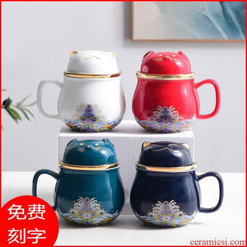 Ceramic portable mini cup keller office make tea tea cup getting express filtering cup silver cup silver