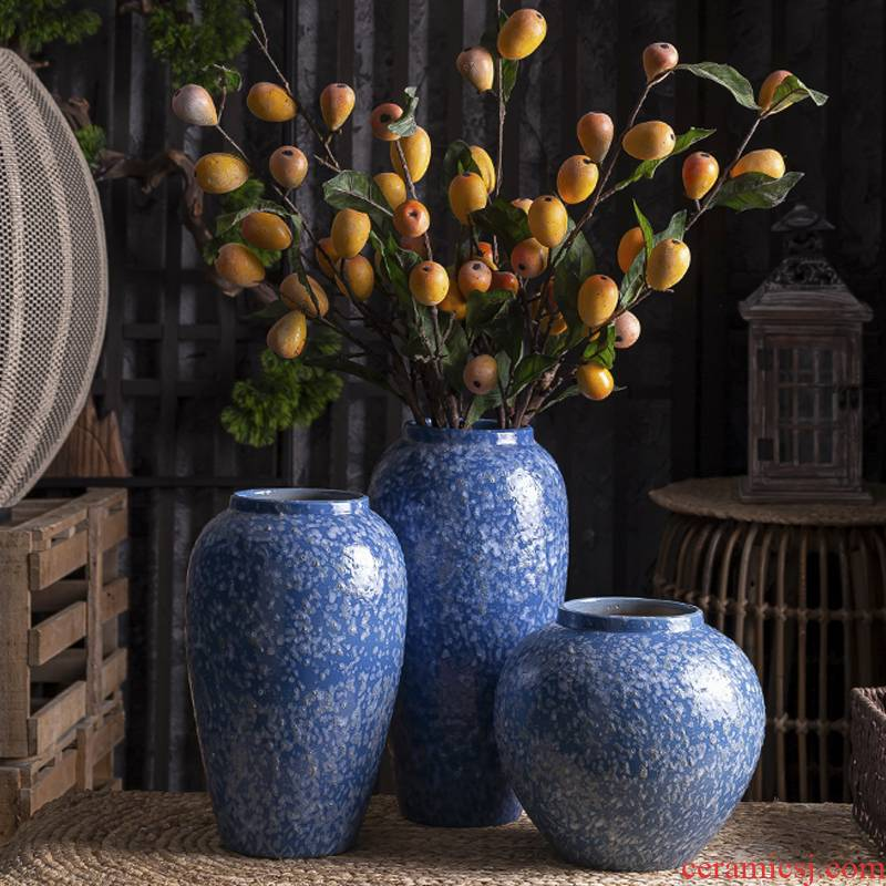 Vase furnishing articles flower arranging light sitting room key-2 luxury decoration of Chinese style household act the role ofing is tasted ceramics American Nordic creative contracted web celebrity