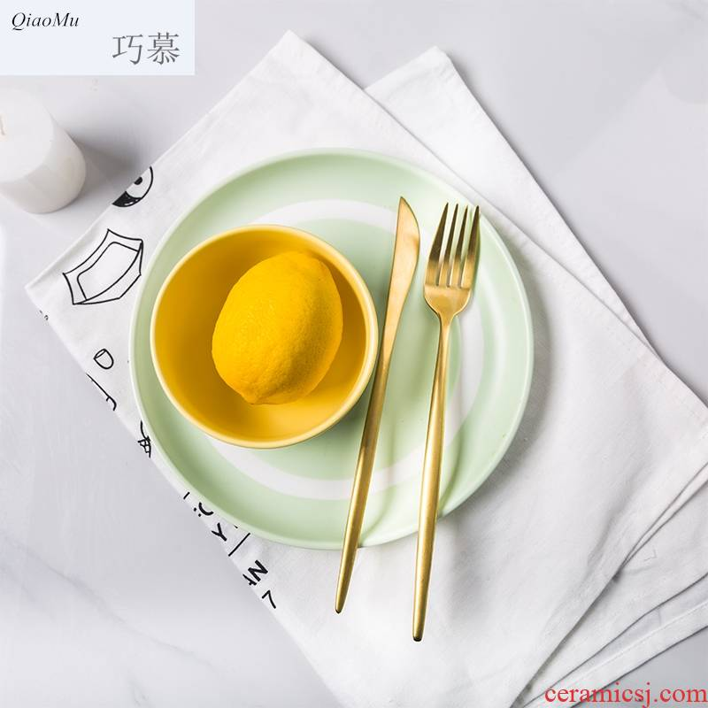 Qiam qiao mu eat bowl Korean lovely simple color matching new ceramic bowl bowl rice bowls fashion tableware