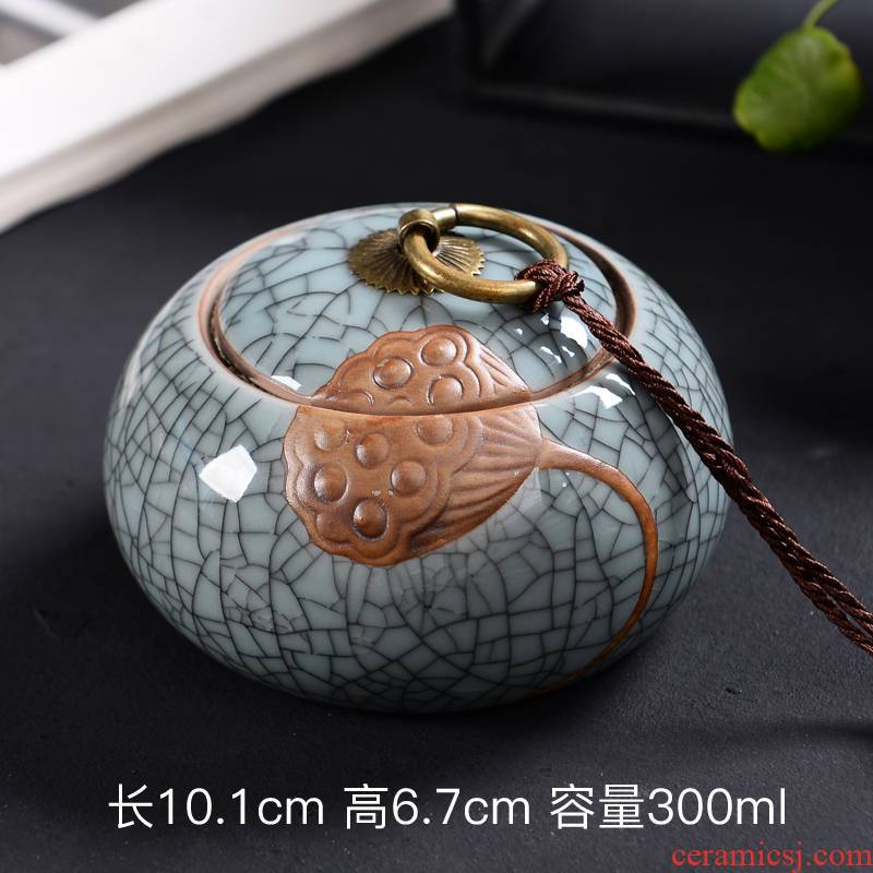 Brother celadon up caddy fixings ceramic seal tank large coarse TaoCun tank kung fu tea tea caddy fixings