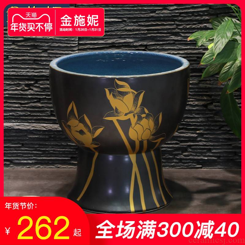 Gold cellnique Chinese wind lotus washing trough pool mop mop pool balcony ceramic toilet basin floor type household