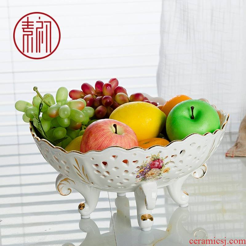 Jingdezhen tea table circular contracted fruit bowl European - style home - a large living room ceramic fruit bowl gift boxes