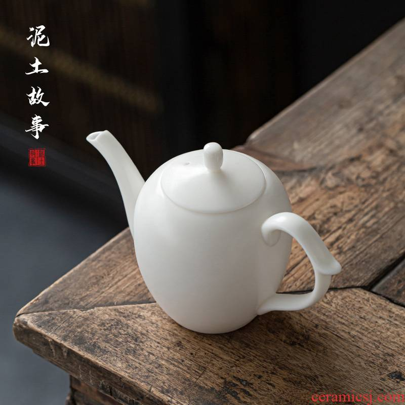 White porcelain jade porcelain teapot beauty POTS, household small filter ceramic POTS xi shi pot of kung fu tea set single pot teapot