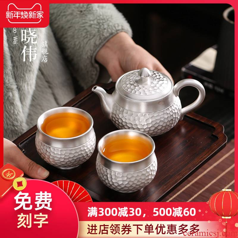 999 sterling silver cup to crack a pot of two cups of 2 Japanese ceramic portable travel kung fu tea set offices