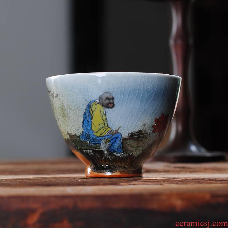The Owl chai up up with jingdezhen tea sets variable glaze teacup dharma lohan crack glaze tea cup kung fu tea cups