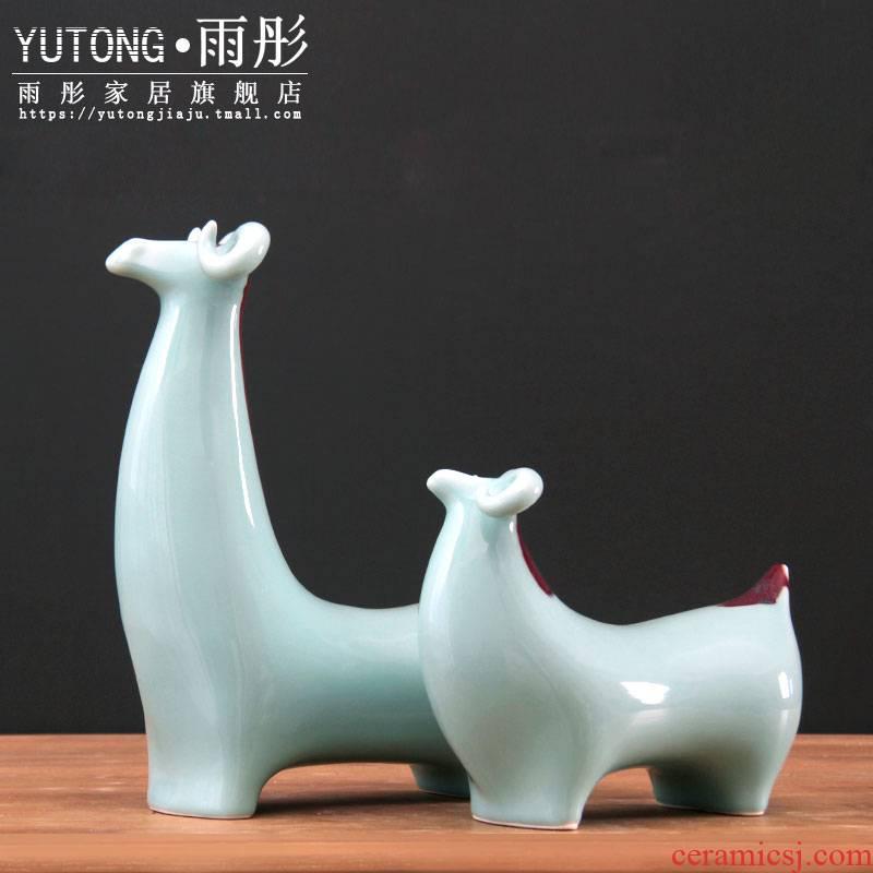 Jingdezhen ceramic checking shadow celadon decoration gifts zodiac sheep sheep sitting room classical furnishing articles of handicraft