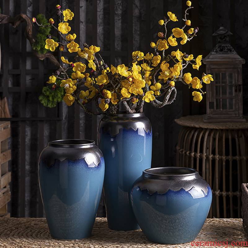 The vase flower arranging European American ceramic TV ark type furnishing articles, The sitting room porch table simulation flowers, dried flower decoration