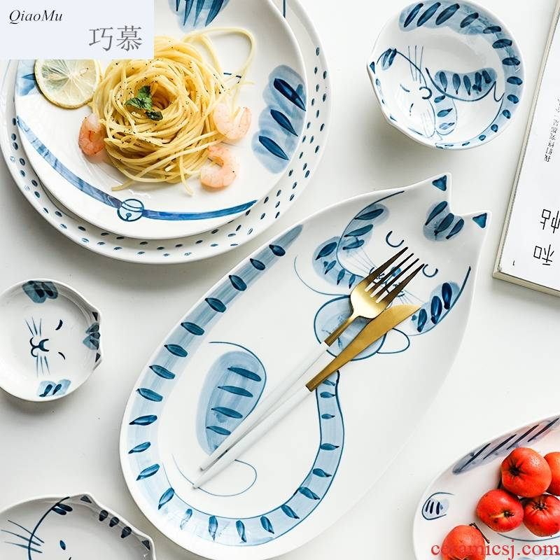 Qiao mu Japanese express cat ceramic tableware special dish plate sushi salad bowl dish bowl rainbow such as bowl dishes