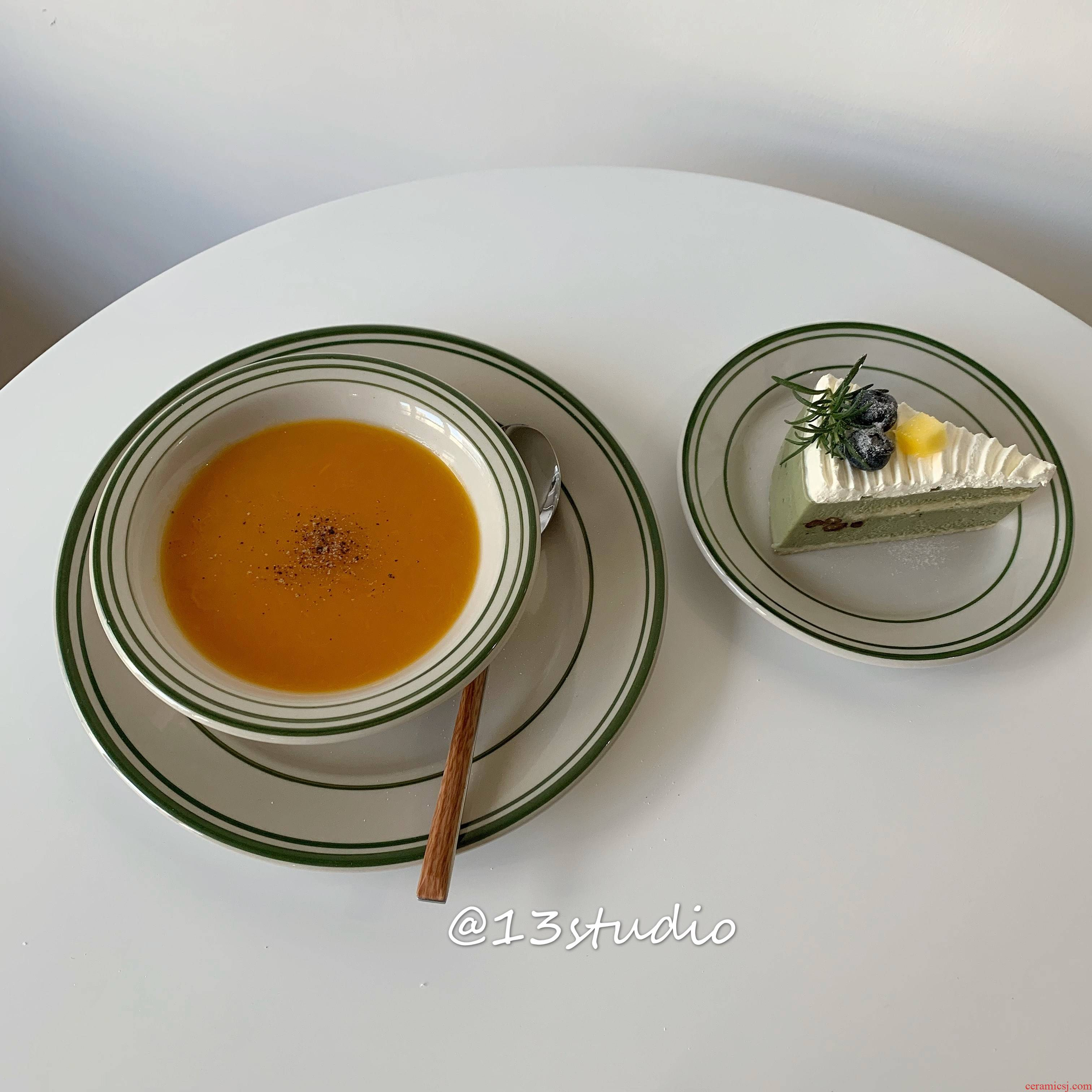 Ins retro line ceramic disc cake plate western food dish of green line one eat breakfast salad pasta dish suits for
