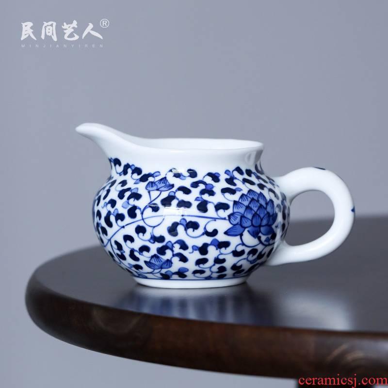 Blue and white tie up branch of jingdezhen hand - made ceramic fair keller points tea white porcelain household kung fu tea accessories tea sea