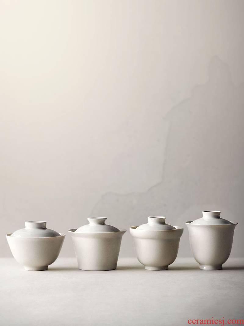 About Nine soil Japanese plant ash glaze tureen jingdezhen ceramic kung fu tea set hand - made tea zen bowl of home u.s